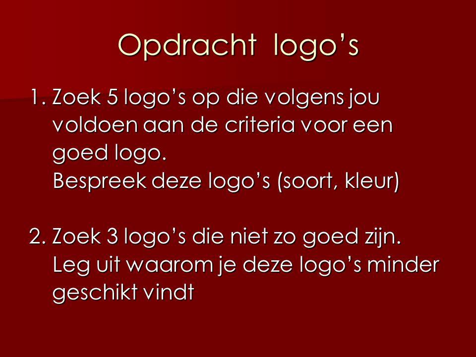 Opdracht logo's 1. Zoek 5 logo's op die volgens jou voldoen aan de criteria voor een voldoen aan de criteria voor een goed logo. goed logo. Bespreek d