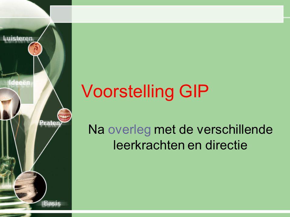 Voorstelling GIP Na overleg met de verschillende leerkrachten en directie