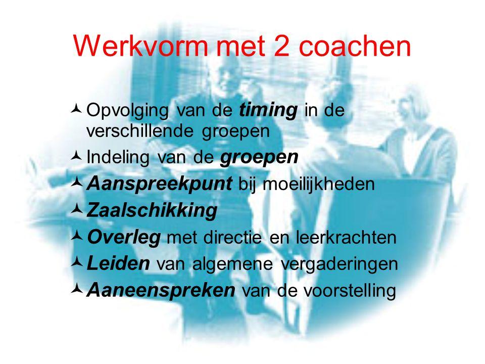 Werkvorm met 2 coachen Opvolging van de timing in de verschillende groepen Indeling van de groepen Aanspreekpunt bij moeilijkheden Zaalschikking Overl