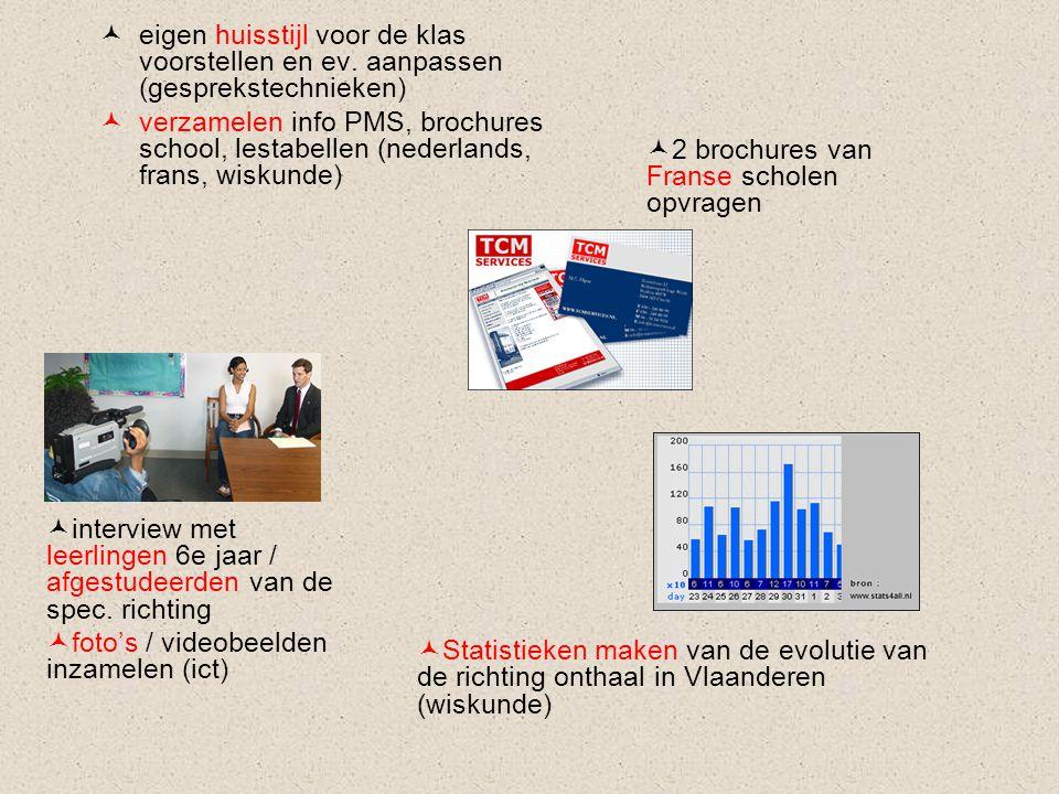 eigen huisstijl voor de klas voorstellen en ev. aanpassen (gesprekstechnieken) verzamelen info PMS, brochures school, lestabellen (nederlands, frans,