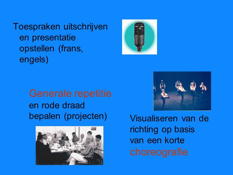 Generale repetitie en rode draad bepalen (projecten) Toespraken uitschrijven en presentatie opstellen (frans, engels) Visualiseren van de richting op