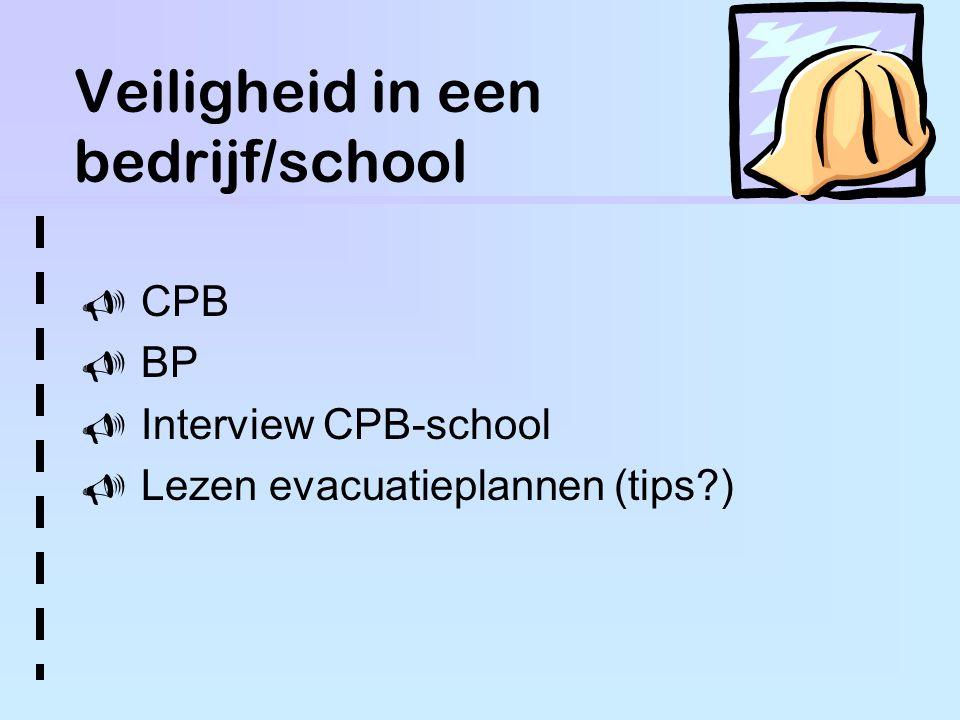 Veiligheid in een bedrijf/school  CPB  BP  Interview CPB-school  Lezen evacuatieplannen (tips )