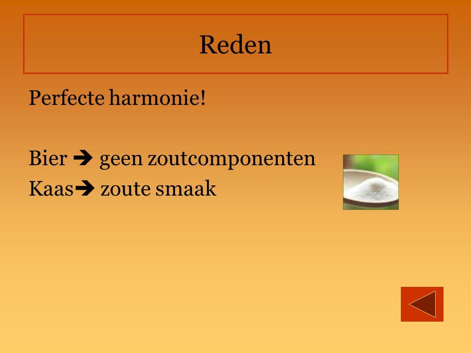 Reden Perfecte harmonie! Bier  geen zoutcomponenten Kaas  zoute smaak