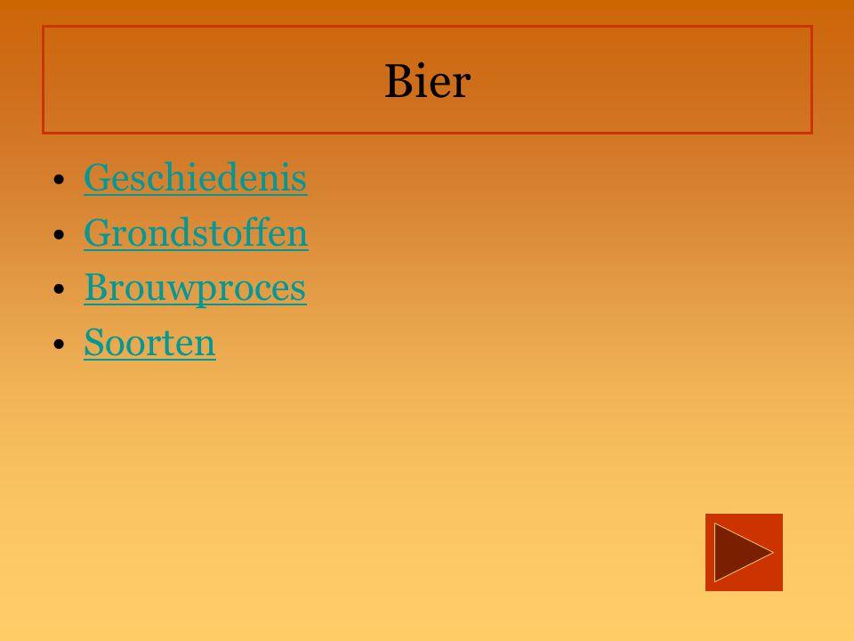 Geschiedenis minstens 6 000 j 3 fases in de geschiedenis: 1.tót het midden van de negentiende eeuw 2.de periode daarna 3.Het bier in de 20 e eeuw Louis Pasteur (1822-1895)   Pasteurisatie : Bier kan een paar maanden worden bewaard.