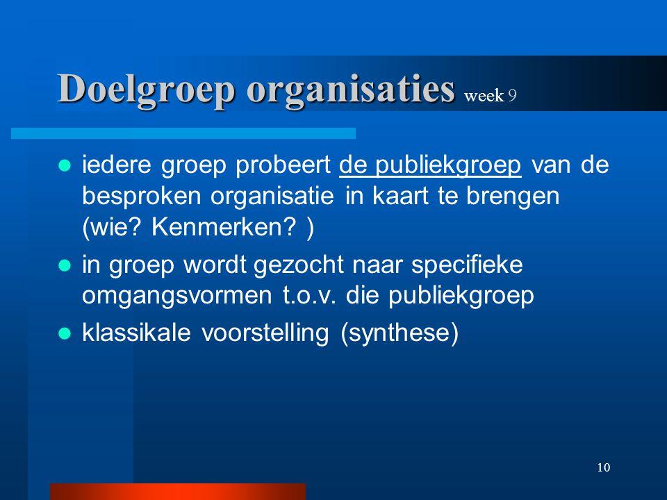 10 Doelgroep organisaties Doelgroep organisaties week 9 iedere groep probeert de publiekgroep van de besproken organisatie in kaart te brengen (wie.
