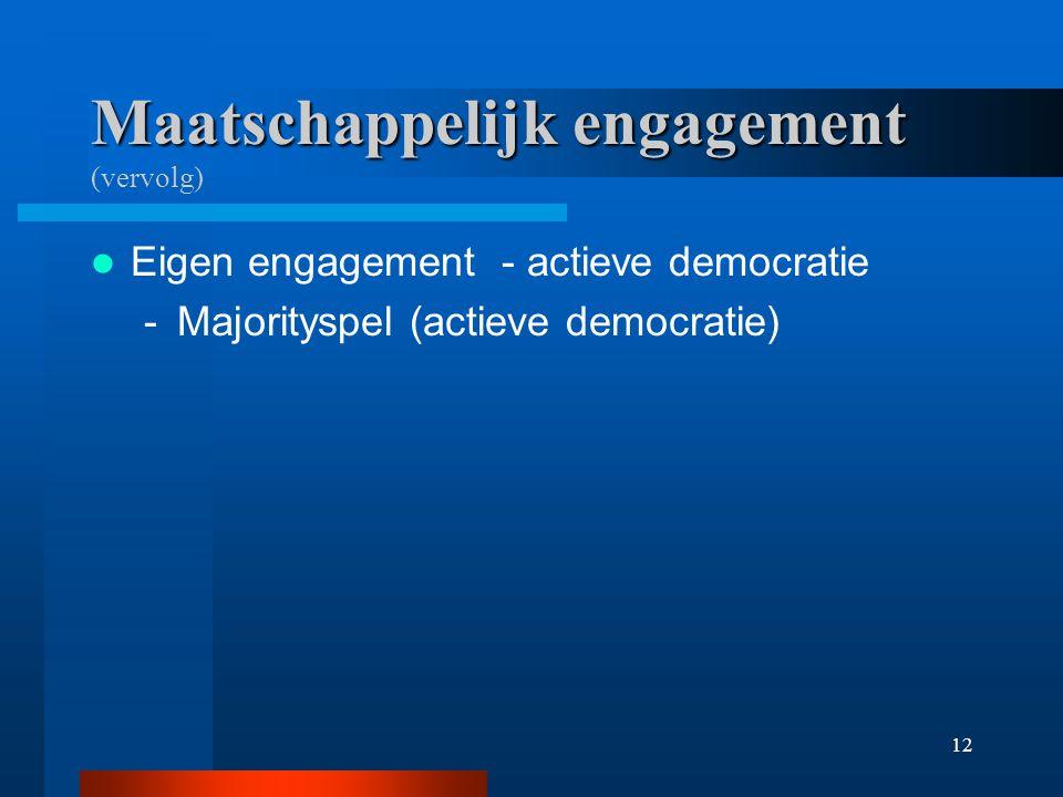 12 Maatschappelijk engagement Maatschappelijk engagement (vervolg) Eigen engagement - actieve democratie -Majorityspel (actieve democratie)