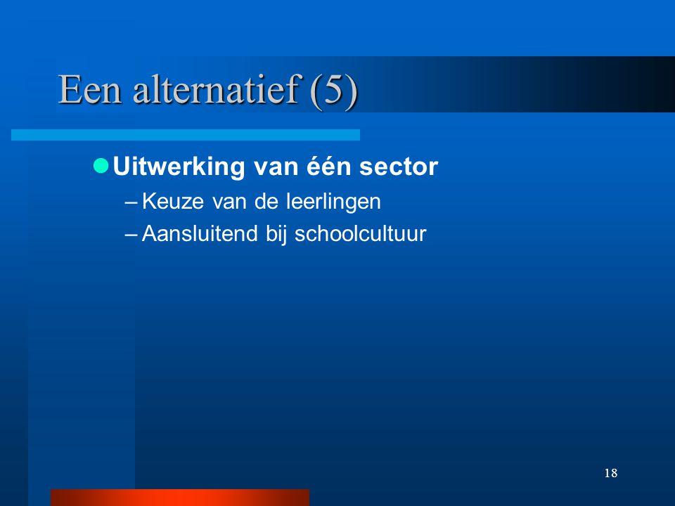 18 Een alternatief (5) Uitwerking van één sector –Keuze van de leerlingen –Aansluitend bij schoolcultuur