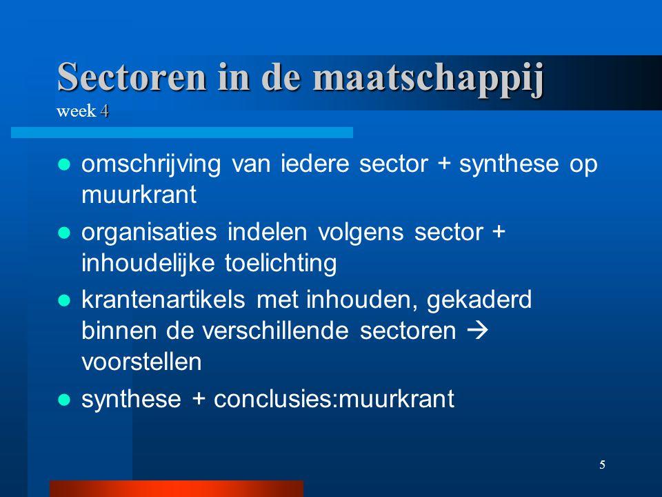 5 Sectoren in de maatschappij 4 Sectoren in de maatschappij week 4 omschrijving van iedere sector + synthese op muurkrant organisaties indelen volgens sector + inhoudelijke toelichting krantenartikels met inhouden, gekaderd binnen de verschillende sectoren  voorstellen synthese + conclusies:muurkrant