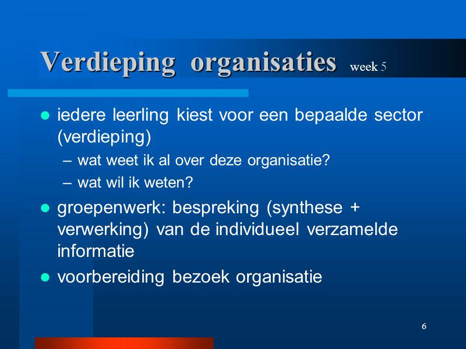 6 Verdieping organisaties Verdieping organisaties week 5 iedere leerling kiest voor een bepaalde sector (verdieping) –wat weet ik al over deze organisatie.