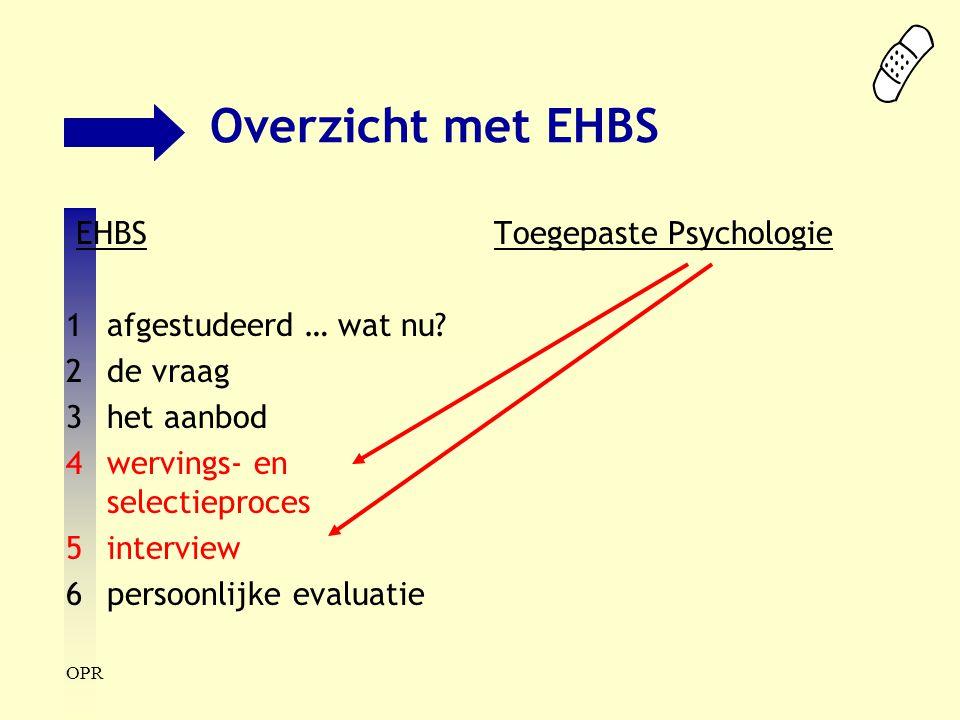 OPR Overzicht met EHBS EHBS 1afgestudeerd … wat nu? 2de vraag 3het aanbod 4wervings- en selectieproces 5interview 6persoonlijke evaluatie Toegepaste P