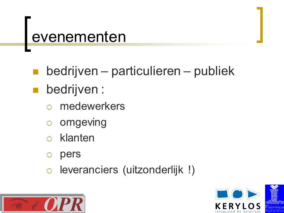 evenementen bedrijven – particulieren – publiek bedrijven :  medewerkers  omgeving  klanten  pers  leveranciers (uitzonderlijk !)