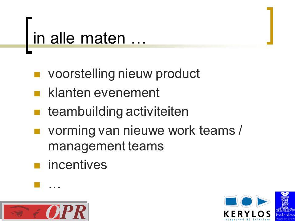 in alle maten … voorstelling nieuw product klanten evenement teambuilding activiteiten vorming van nieuwe work teams / management teams incentives …