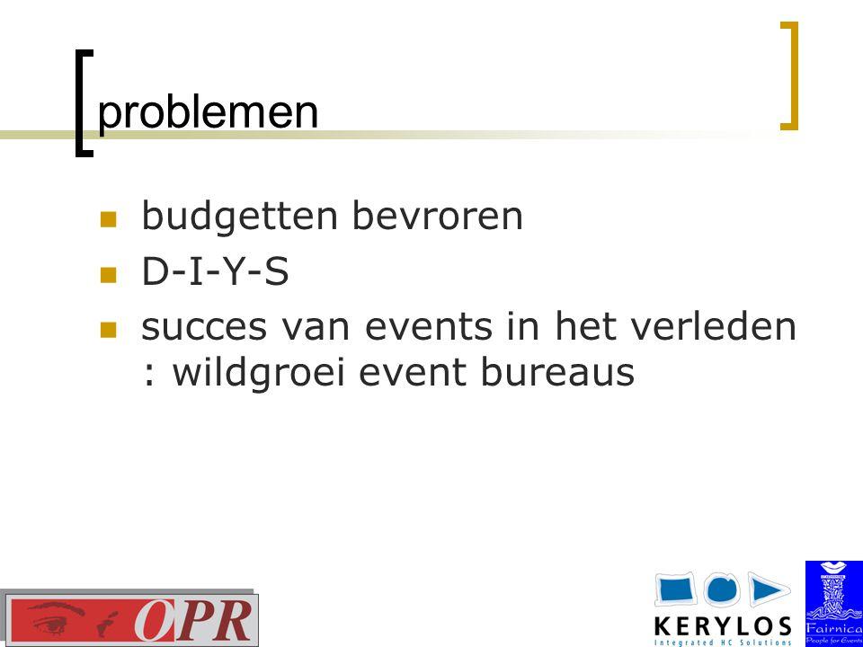 problemen budgetten bevroren D-I-Y-S succes van events in het verleden : wildgroei event bureaus