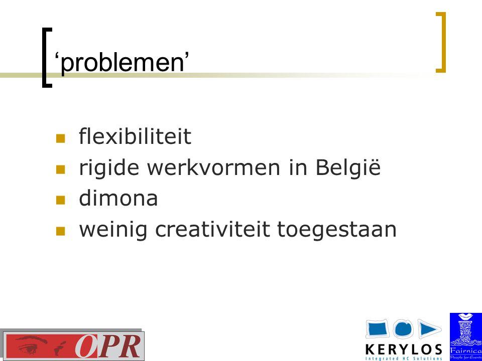 'problemen' flexibiliteit rigide werkvormen in België dimona weinig creativiteit toegestaan