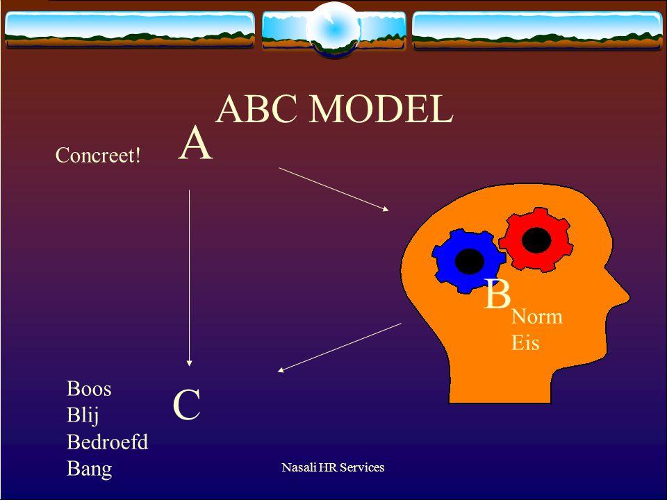 Nasali HR Services ABC MODEL A C B Concreet! Boos Blij Bedroefd Bang Norm Eis