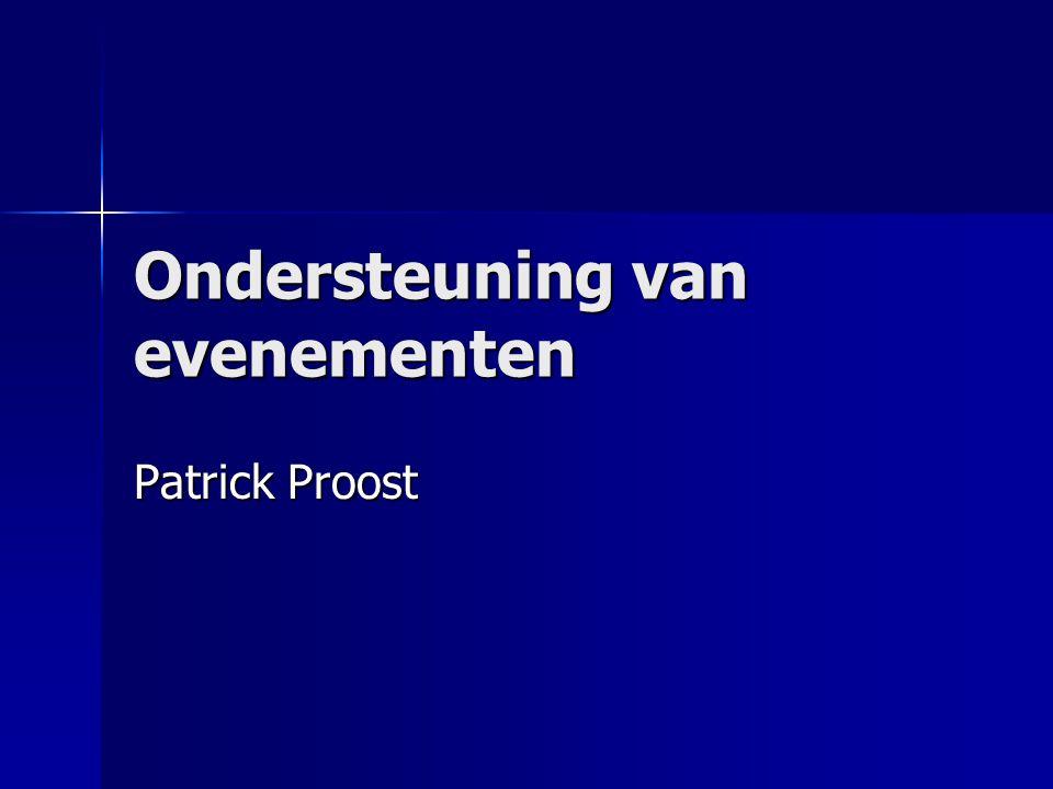 Inhoud Inleiding Inleiding Fases in een evenement Fases in een evenement ICT-ondersteuning ICT-ondersteuning In-house of extern.