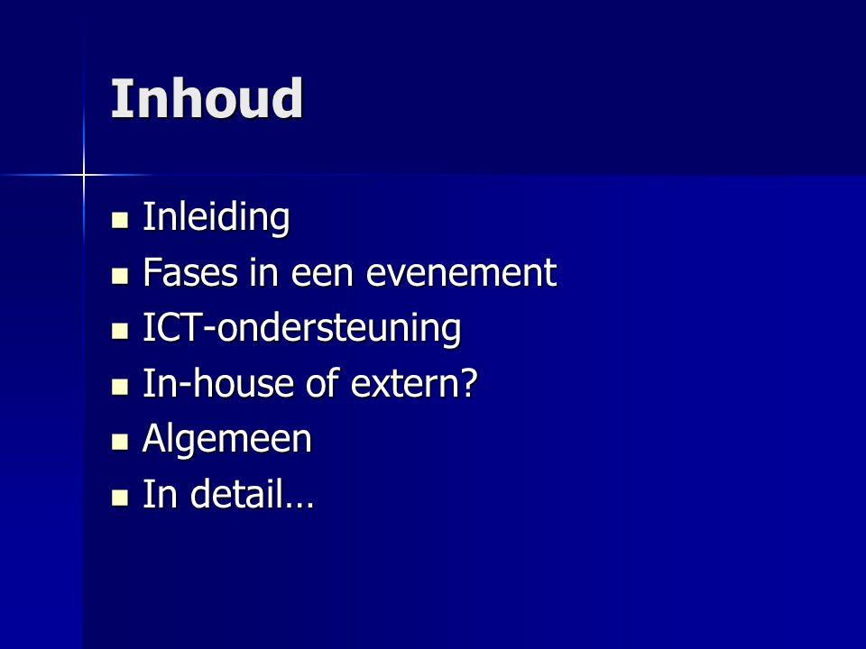 Inhoud Inleiding Inleiding Fases in een evenement Fases in een evenement ICT-ondersteuning ICT-ondersteuning In-house of extern? In-house of extern? A