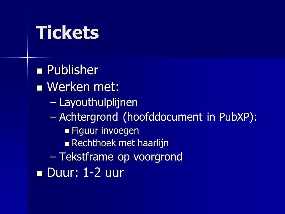 Tickets Publisher Publisher Werken met: Werken met: –Layouthulplijnen –Achtergrond (hoofddocument in PubXP): Figuur invoegen Figuur invoegen Rechthoek