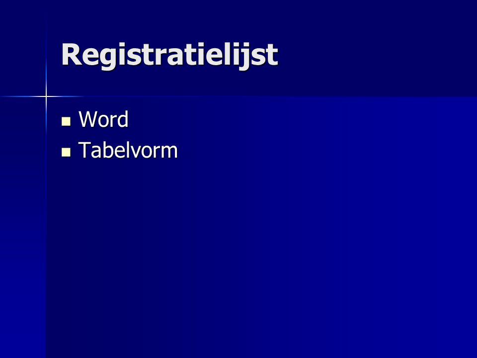Registratielijst Word Word Tabelvorm Tabelvorm