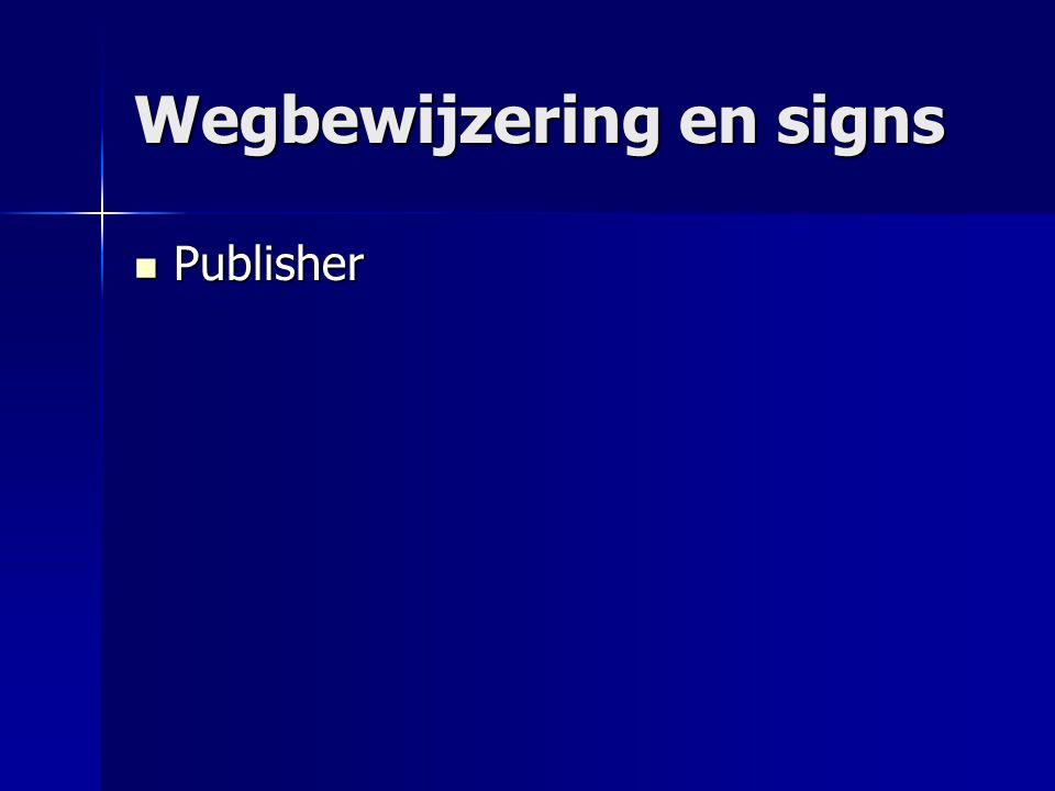 Wegbewijzering en signs Publisher Publisher