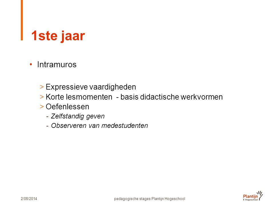 2/08/2014pedagogische stages Plantijn Hogeschool 1ste jaar Intramuros >Expressieve vaardigheden >Korte lesmomenten - basis didactische werkvormen >Oefenlessen -Zelfstandig geven -Observeren van medestudenten