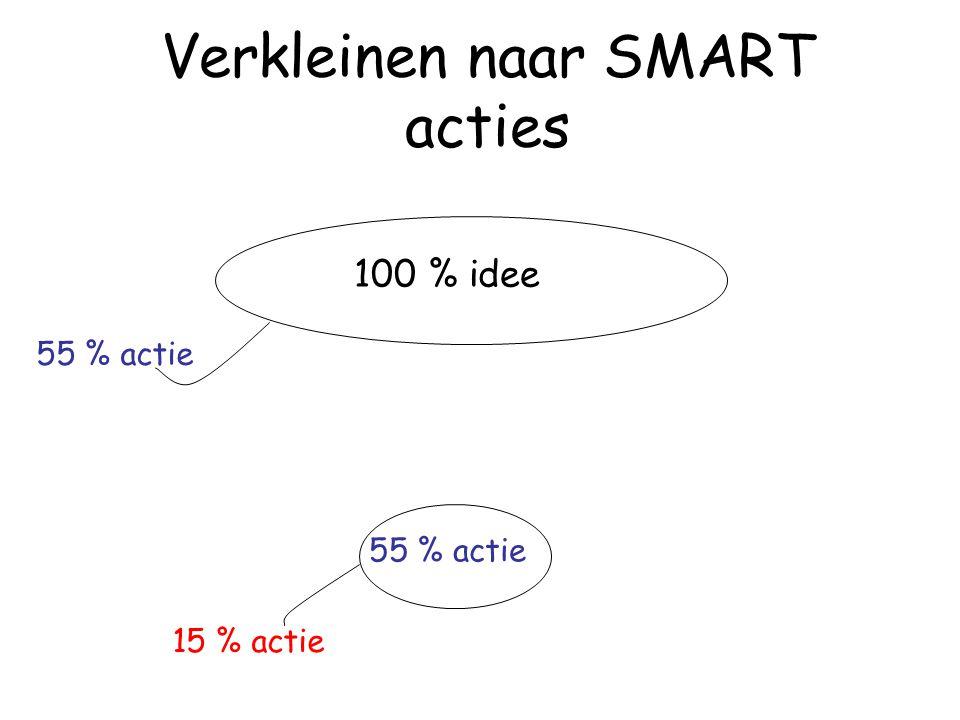 Verkleinen naar SMART acties 100 % idee 15 % actie 55 % actie