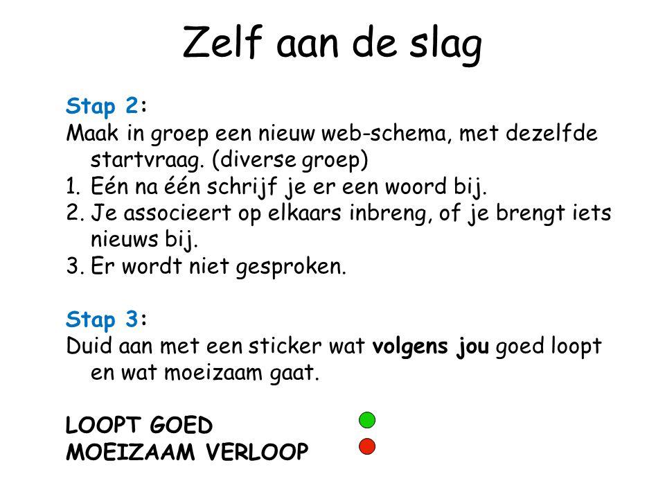 Zelf aan de slag Stap 2: Maak in groep een nieuw web-schema, met dezelfde startvraag. (diverse groep) 1.Eén na één schrijf je er een woord bij. 2.Je a