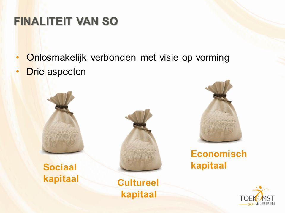 FINALITEIT VAN SO Onlosmakelijk verbonden met visie op vorming Drie aspecten Sociaal kapitaal Cultureel kapitaal Economisch kapitaal