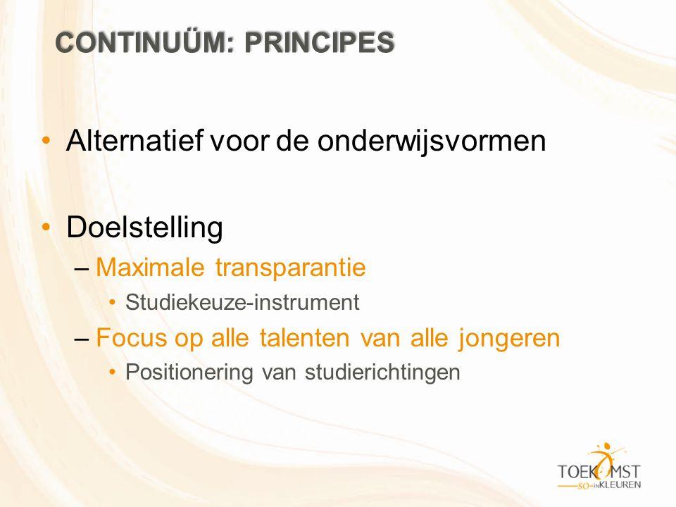 Alternatief voor de onderwijsvormen Doelstelling –Maximale transparantie Studiekeuze-instrument –Focus op alle talenten van alle jongeren Positionerin