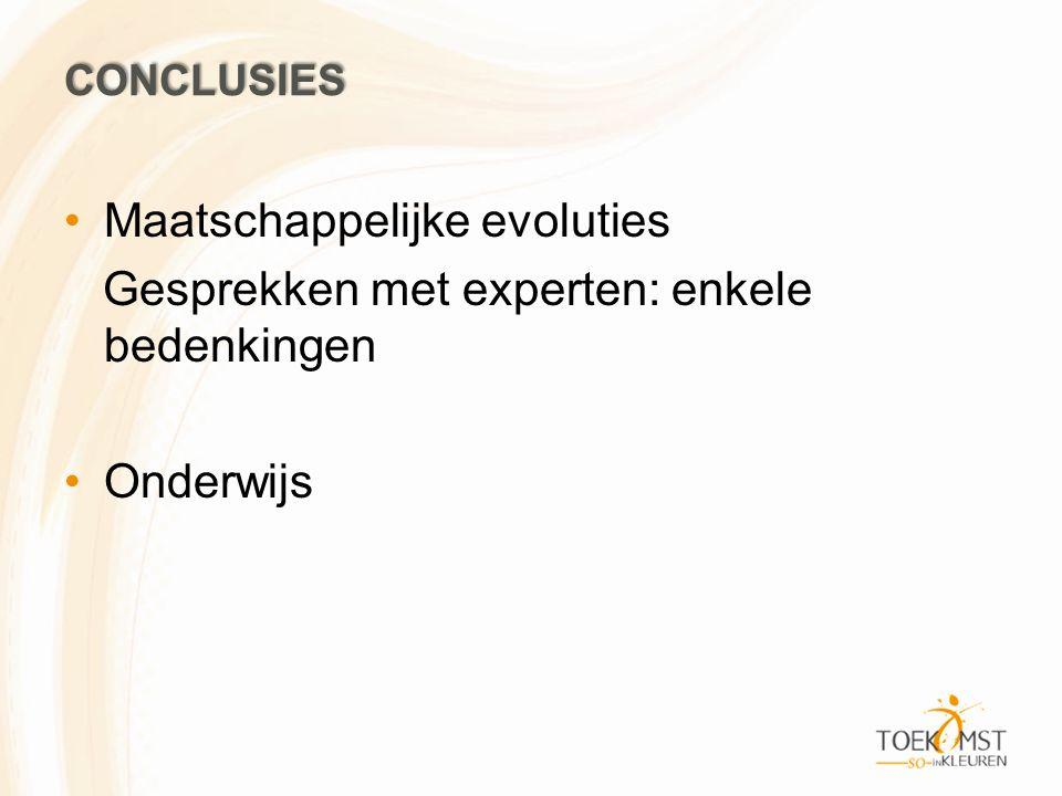 CONCLUSIES Maatschappelijke evoluties Gesprekken met experten: enkele bedenkingen Onderwijs