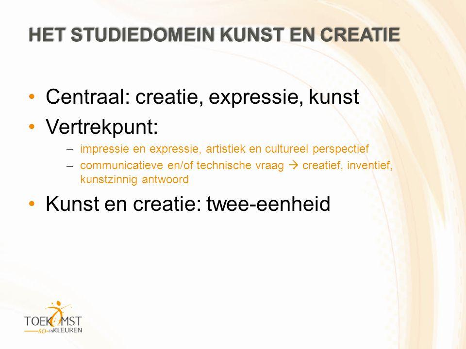 Centraal: creatie, expressie, kunst Vertrekpunt: –impressie en expressie, artistiek en cultureel perspectief –communicatieve en/of technische vraag  creatief, inventief, kunstzinnig antwoord Kunst en creatie: twee-eenheid