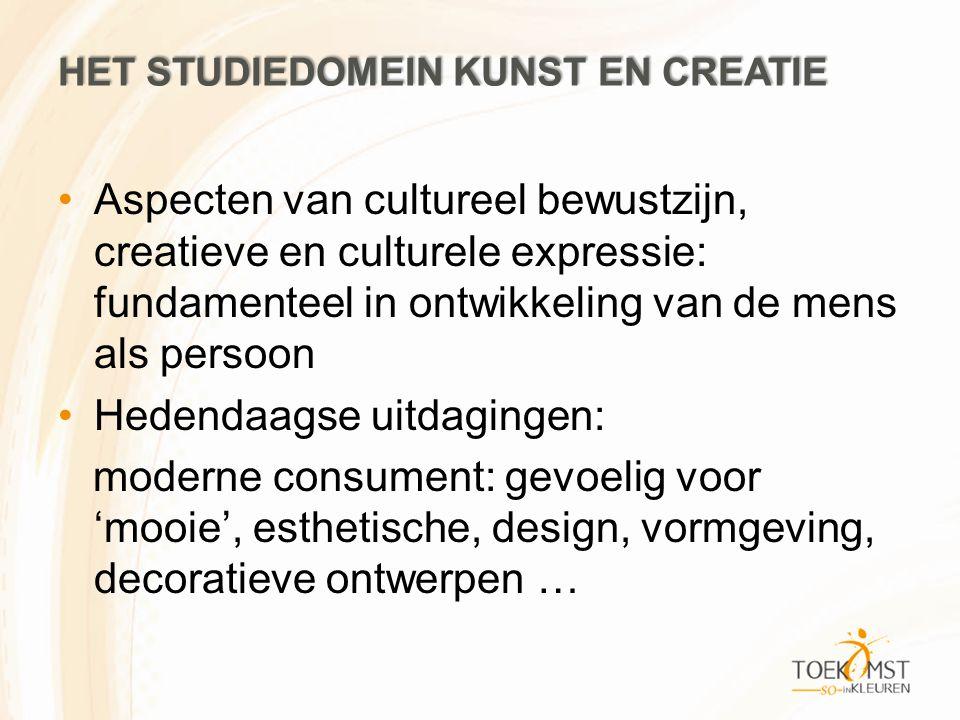 HET STUDIEDOMEIN KUNST EN CREATIE Aspecten van cultureel bewustzijn, creatieve en culturele expressie: fundamenteel in ontwikkeling van de mens als persoon Hedendaagse uitdagingen: moderne consument: gevoelig voor 'mooie', esthetische, design, vormgeving, decoratieve ontwerpen …