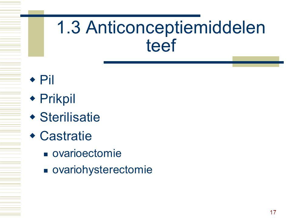 17 1.3 Anticonceptiemiddelen teef  Pil  Prikpil  Sterilisatie  Castratie ovarioectomie ovariohysterectomie