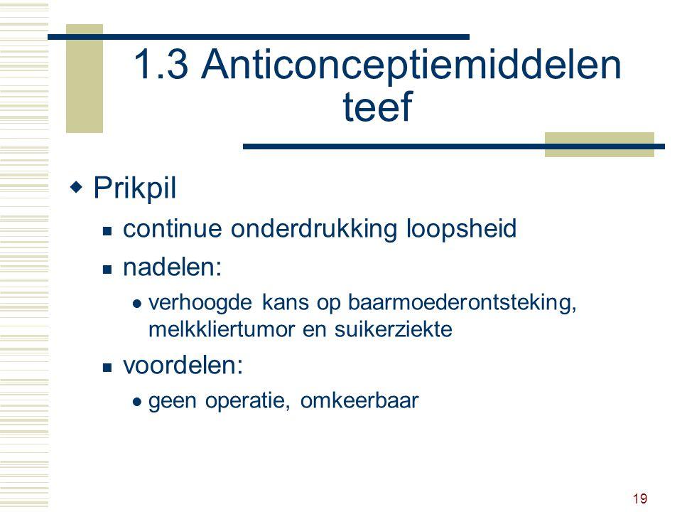 19 1.3 Anticonceptiemiddelen teef  Prikpil continue onderdrukking loopsheid nadelen: verhoogde kans op baarmoederontsteking, melkkliertumor en suikerziekte voordelen: geen operatie, omkeerbaar