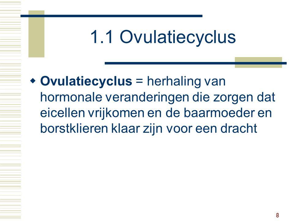 8 1.1 Ovulatiecyclus  Ovulatiecyclus = herhaling van hormonale veranderingen die zorgen dat eicellen vrijkomen en de baarmoeder en borstklieren klaar zijn voor een dracht