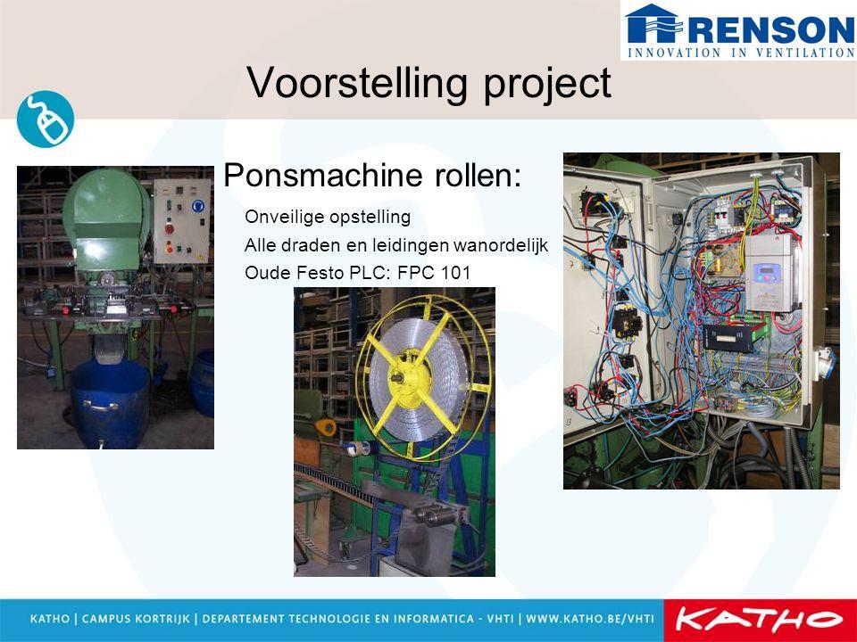 Voorstelling project Ponsmachine rollen: Onveilige opstelling Alle draden en leidingen wanordelijk Oude Festo PLC: FPC 101