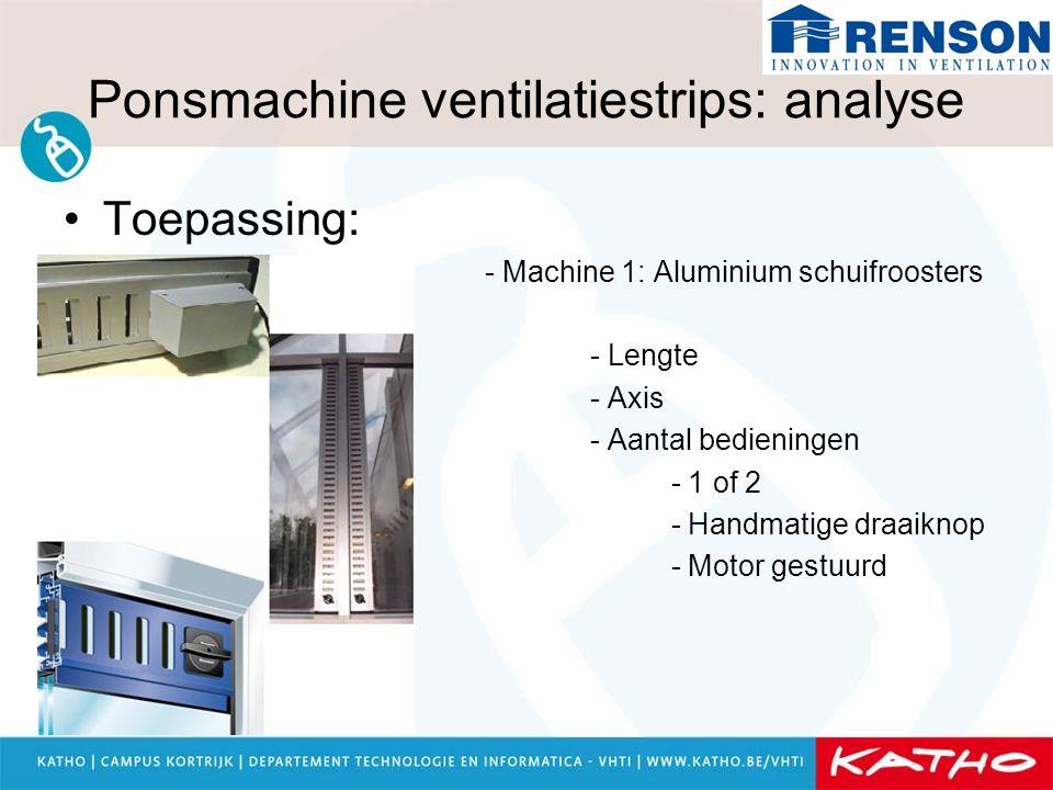 Ponsmachine ventilatiestrips: analyse Toepassing: - Machine 1: Aluminium schuifroosters - Lengte - Axis - Aantal bedieningen - 1 of 2 - Handmatige dra