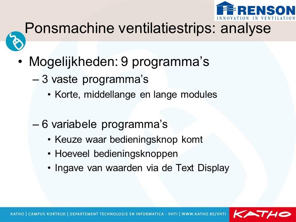 Ponsmachine ventilatiestrips: analyse Mogelijkheden: 9 programma's –3 vaste programma's Korte, middellange en lange modules –6 variabele programma's K