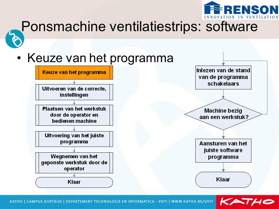 Ponsmachine ventilatiestrips: software Keuze van het programma