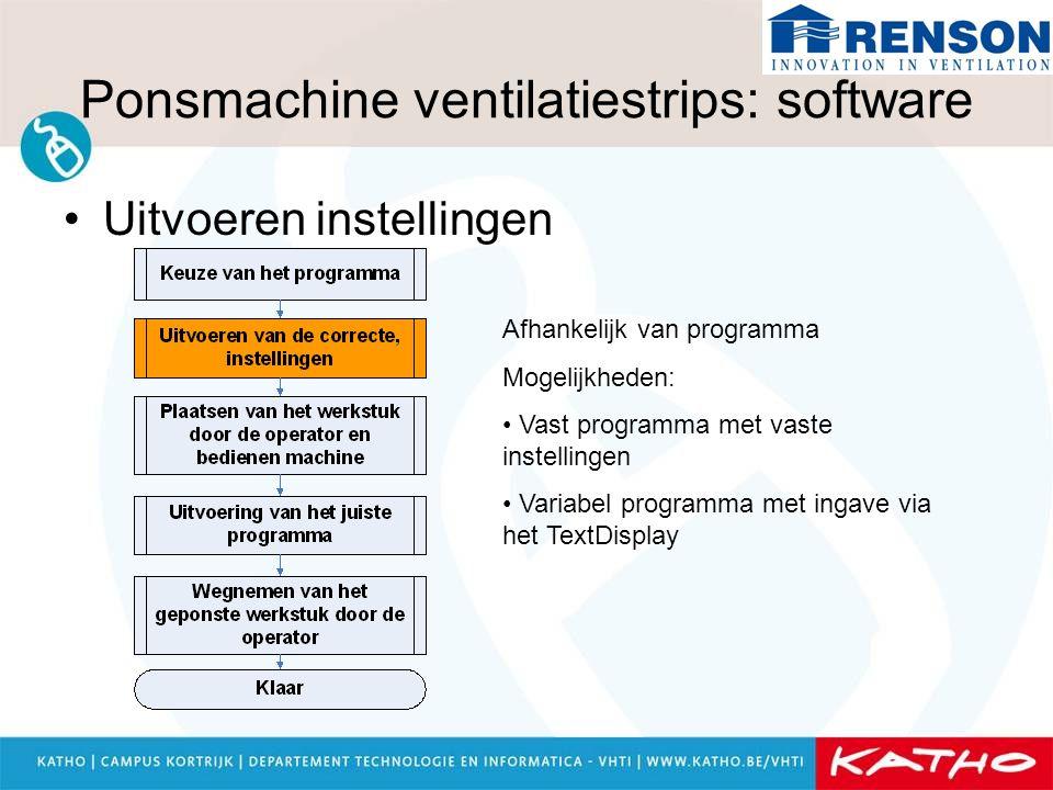 Ponsmachine ventilatiestrips: software Uitvoeren instellingen Afhankelijk van programma Mogelijkheden: Vast programma met vaste instellingen Variabel