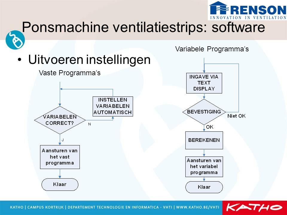 Ponsmachine ventilatiestrips: software Uitvoeren instellingen Vaste Programma's Variabele Programma's