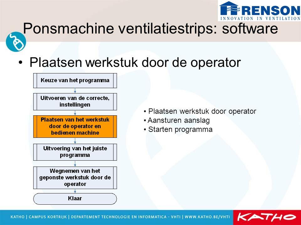 Ponsmachine ventilatiestrips: software Plaatsen werkstuk door de operator Plaatsen werkstuk door operator Aansturen aanslag Starten programma