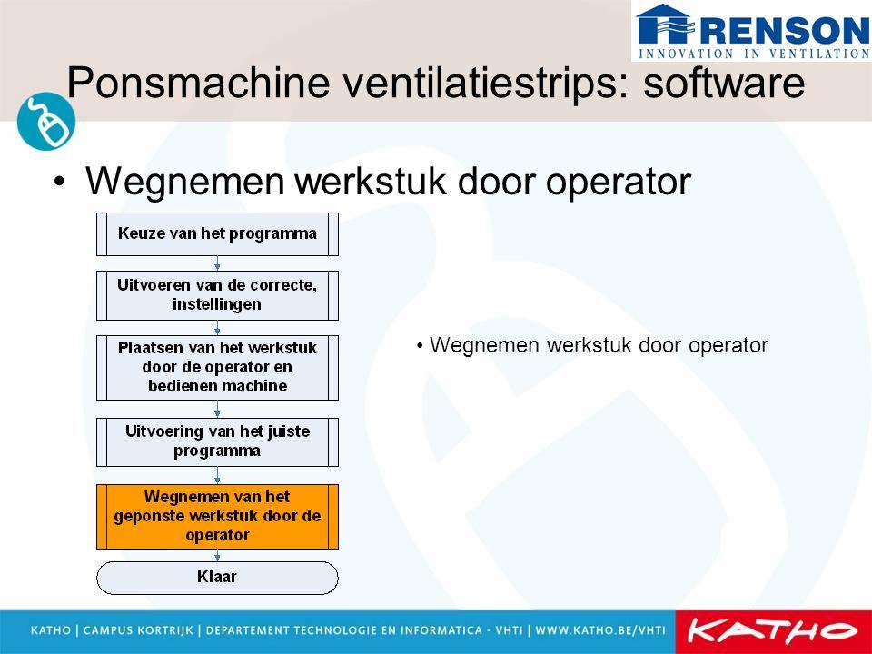 Ponsmachine ventilatiestrips: software Wegnemen werkstuk door operator