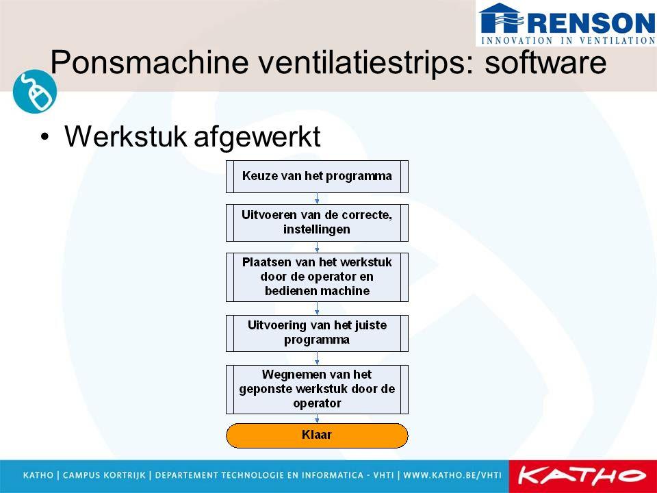Ponsmachine ventilatiestrips: software Werkstuk afgewerkt