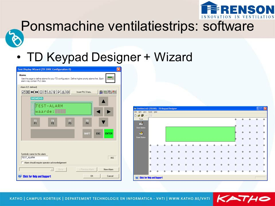 Ponsmachine ventilatiestrips: software TD Keypad Designer + Wizard