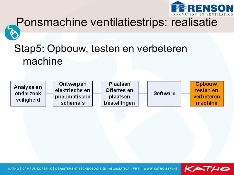 Ponsmachine ventilatiestrips: realisatie Stap5: Opbouw, testen en verbeteren machine