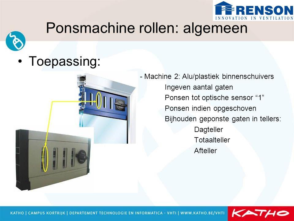 """Ponsmachine rollen: algemeen Toepassing: - Machine 2: Alu/plastiek binnenschuivers Ingeven aantal gaten Ponsen tot optische sensor """"1"""" Ponsen indien o"""