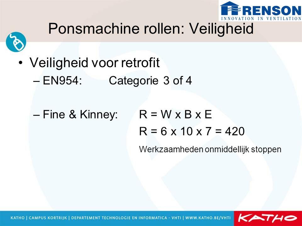 Ponsmachine rollen: Veiligheid Veiligheid voor retrofit –EN954: Categorie 3 of 4 –Fine & Kinney: R = W x B x E R = 6 x 10 x 7 = 420 Werkzaamheden onmi