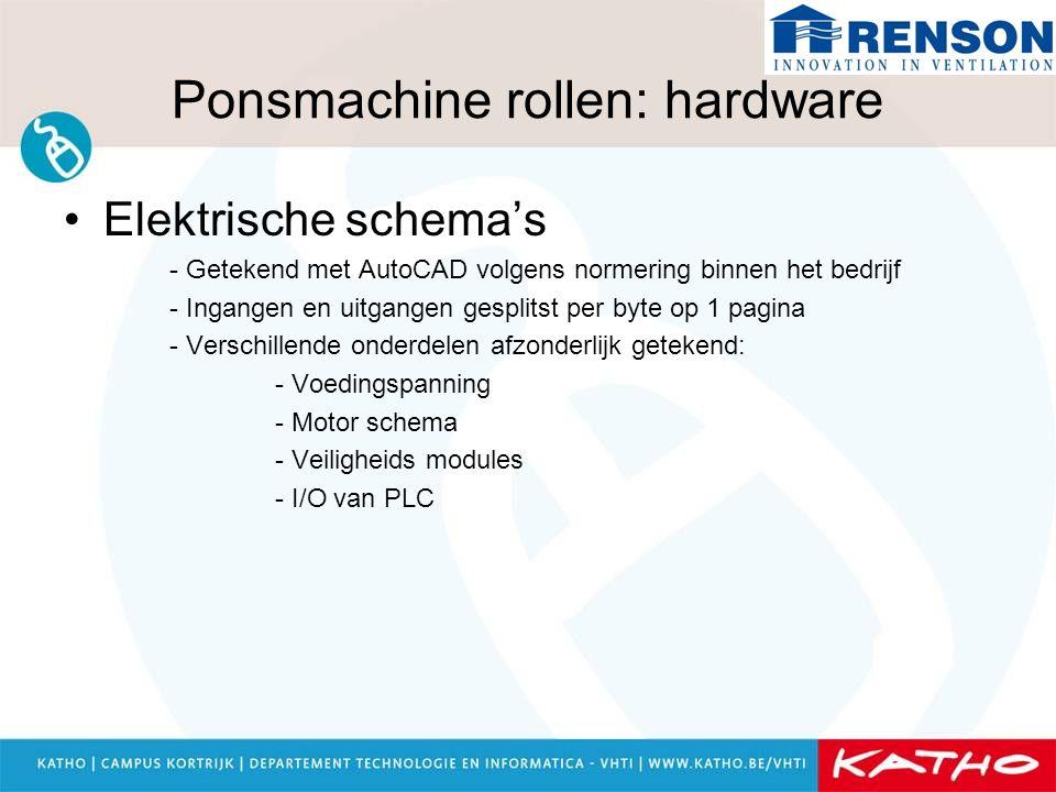 Ponsmachine rollen: hardware Elektrische schema's - Getekend met AutoCAD volgens normering binnen het bedrijf - Ingangen en uitgangen gesplitst per by