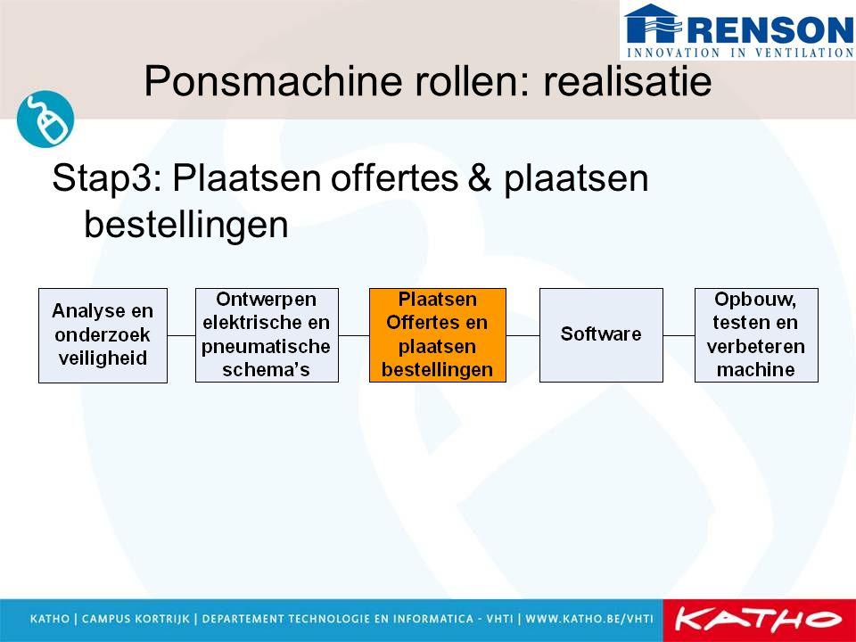 Ponsmachine rollen: realisatie Stap3: Plaatsen offertes & plaatsen bestellingen